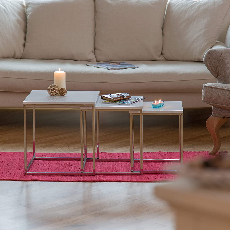 Bianco Relaxdays 10020360/_49 Set di Tavolini Sovrapponibili Legno 40x40x42 cm