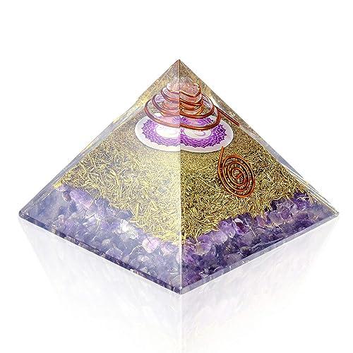 Orgone Pyramid Energy Generator – Crown Chakra Symbol Orgonite Amethyst Crystal Pyramid with Brass Metal for EMF Protection – Chakra Balancing-Healing-Meditation-Yoga
