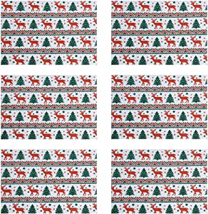 DOLOPL Christmas Placemats Boho Placemat Table Mats Winter Table Placemats Set of 6 Christmas Tree and Deer Placemats Heat Resistant Easy to Clean Non Slip for Dining Kitchen Christmas Holiday Party