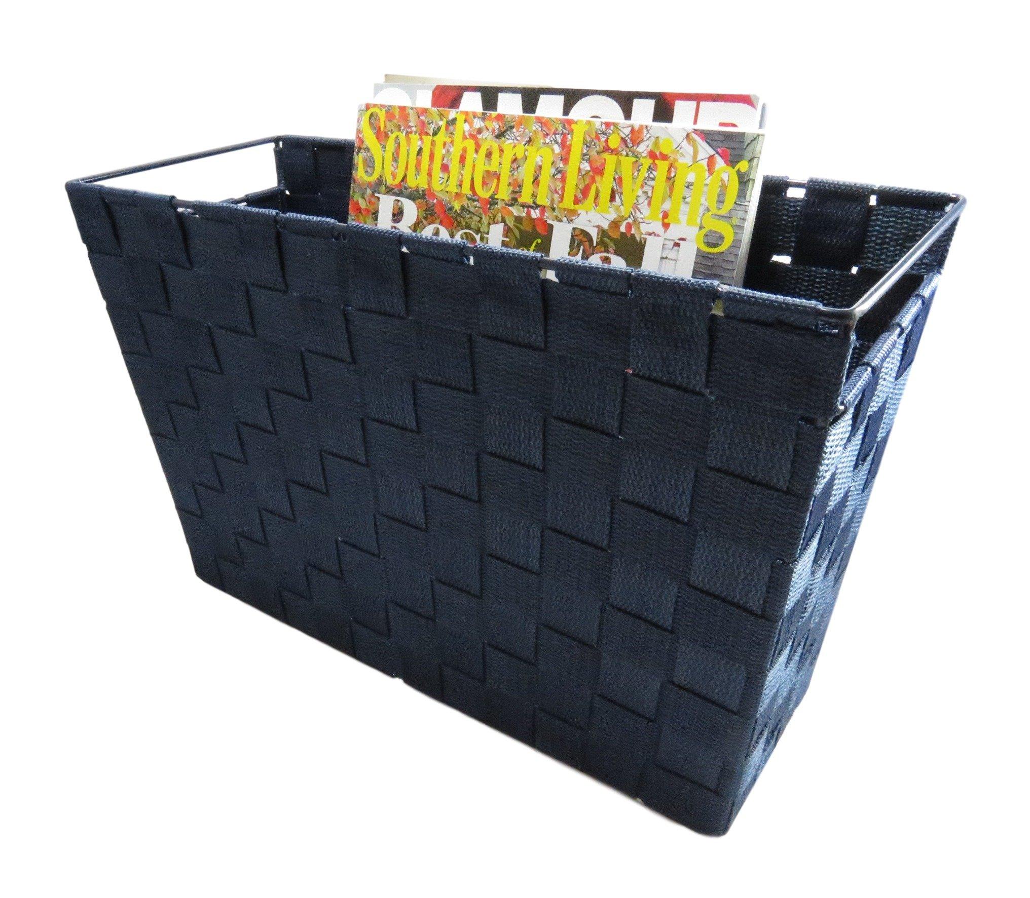 Magazine File Storage Organizer Basket Woven Strap Built-in Handles Shelf Tote 14 1/2 x 9 7/16 Navy Blue