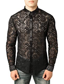 JXG Men Floral Print Button Down Long Sleeve Basic Club Dress Shirts