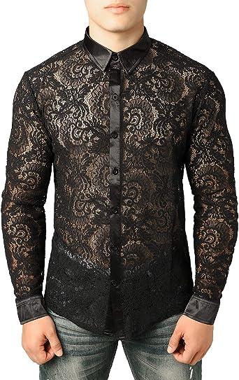 Jogal - Camisa de manga larga para hombre, diseño de flores, transparente Peine para grifo. M: Amazon.es: Ropa y accesorios