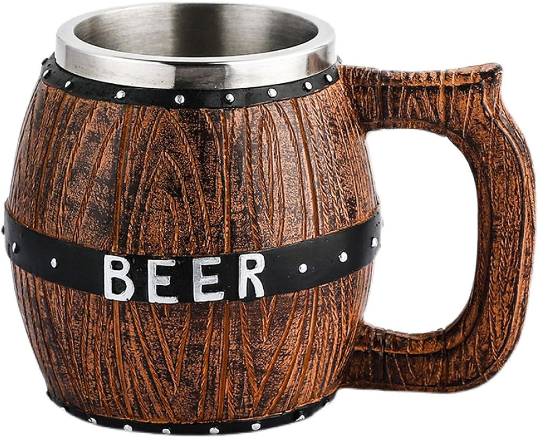 Taza Cerveza,copas de cerveza,copa de cóctel con asa revestimiento de acero inoxidable vaso de barril de cerveza de gran capacidad con fondo antideslizante utilizado para reuniones familiares(580ml)