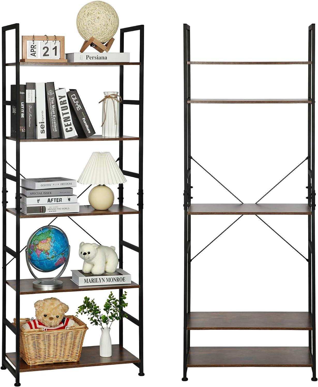 Agreatca Bookshelf 5 Tier Adjustable Bookcase Rustic Wooden Industrial Bookshelf with Metal Frame Storage Rack Shelf for Home Office Bedroom Decor Display & Organizer, Brown