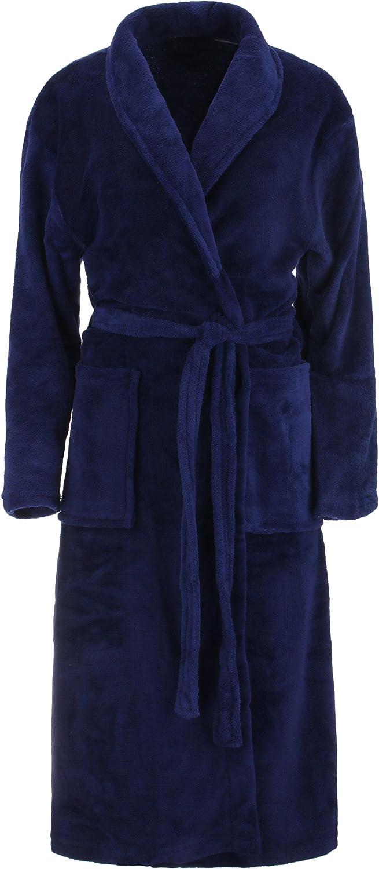 Brandsseller - Albornoz de microfibra, unisex, para hombre y mujer, tallas: S/M – L/XL, en los colores: crema, rosa, marrón, azul marino y gris