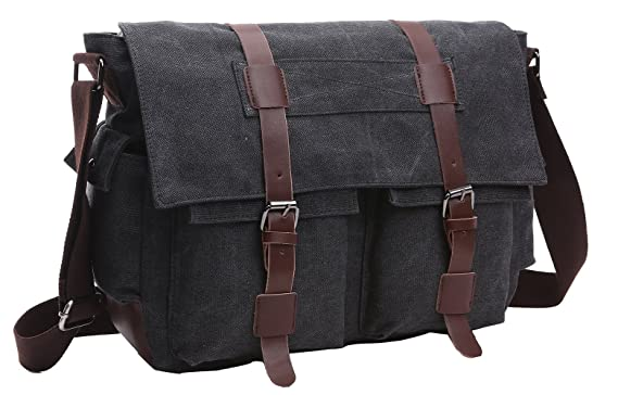 Amazon.com | ZUOLUNDUO Vintage Canvas Laptop Messenger Bag School ...