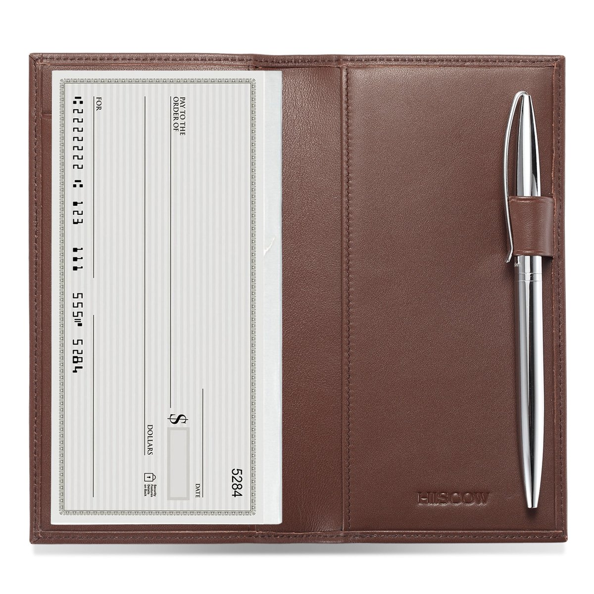 HISCOW Supple Leather Checkbook Cover with Free Divider - Italian Calfskin (Brown)