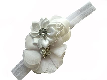6589f682cbab Buy Bellazaara Baby Girl s Couture Satin Ribbon Flower Headband (White)  Online at Low Prices in India - Amazon.in