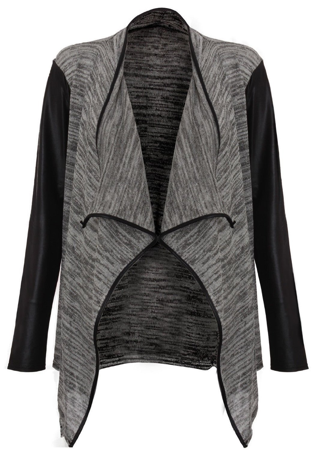 Forever Women's Long Wetlook Sleeves Stretchy Waterfall Blazer (M/L = 10/12, Grey)