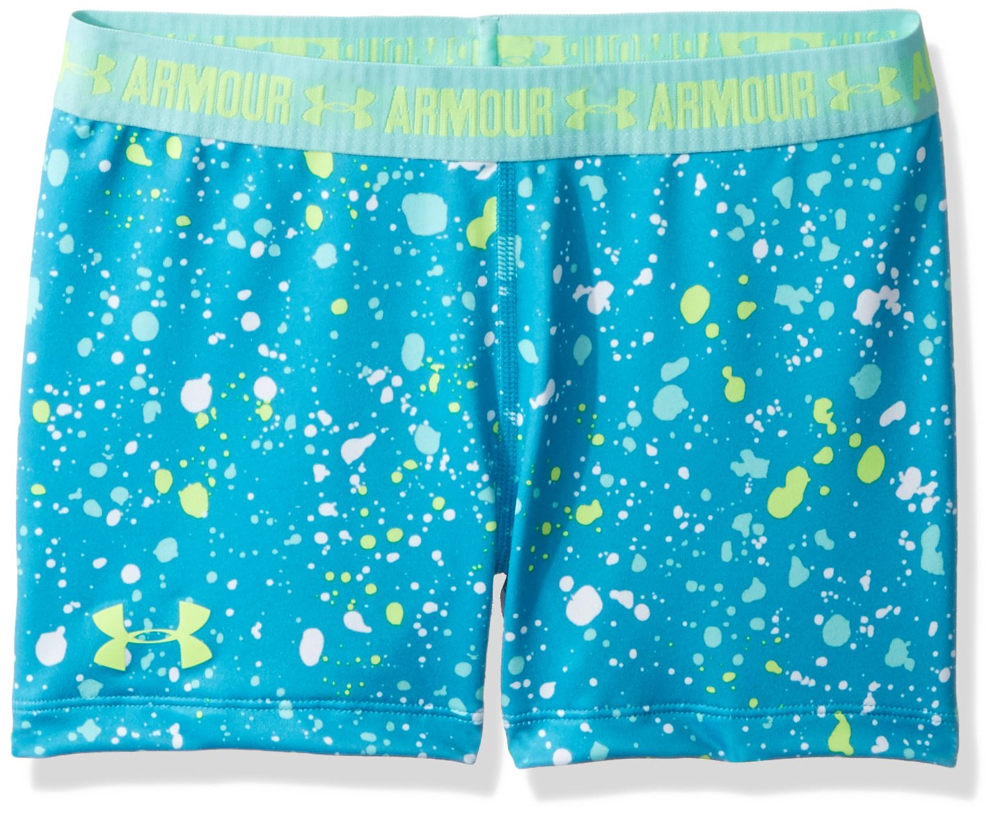 Under Armour Girls' HeatGear Armour Printed 3'' Shorty,Blue Shift /Quirky Lime, Youth Medium by Under Armour