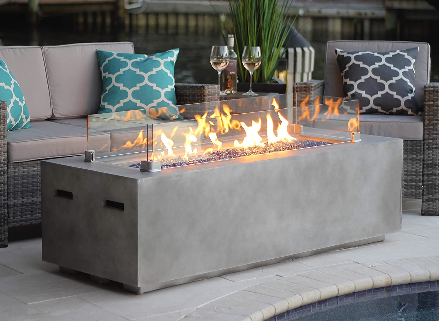 AKOYA Outdoor Essentials AOE60501AA-Onyx Black 60 Rectangular Modern Concrete Fire Pit Table with Glass Guard and Crystals, Onyx