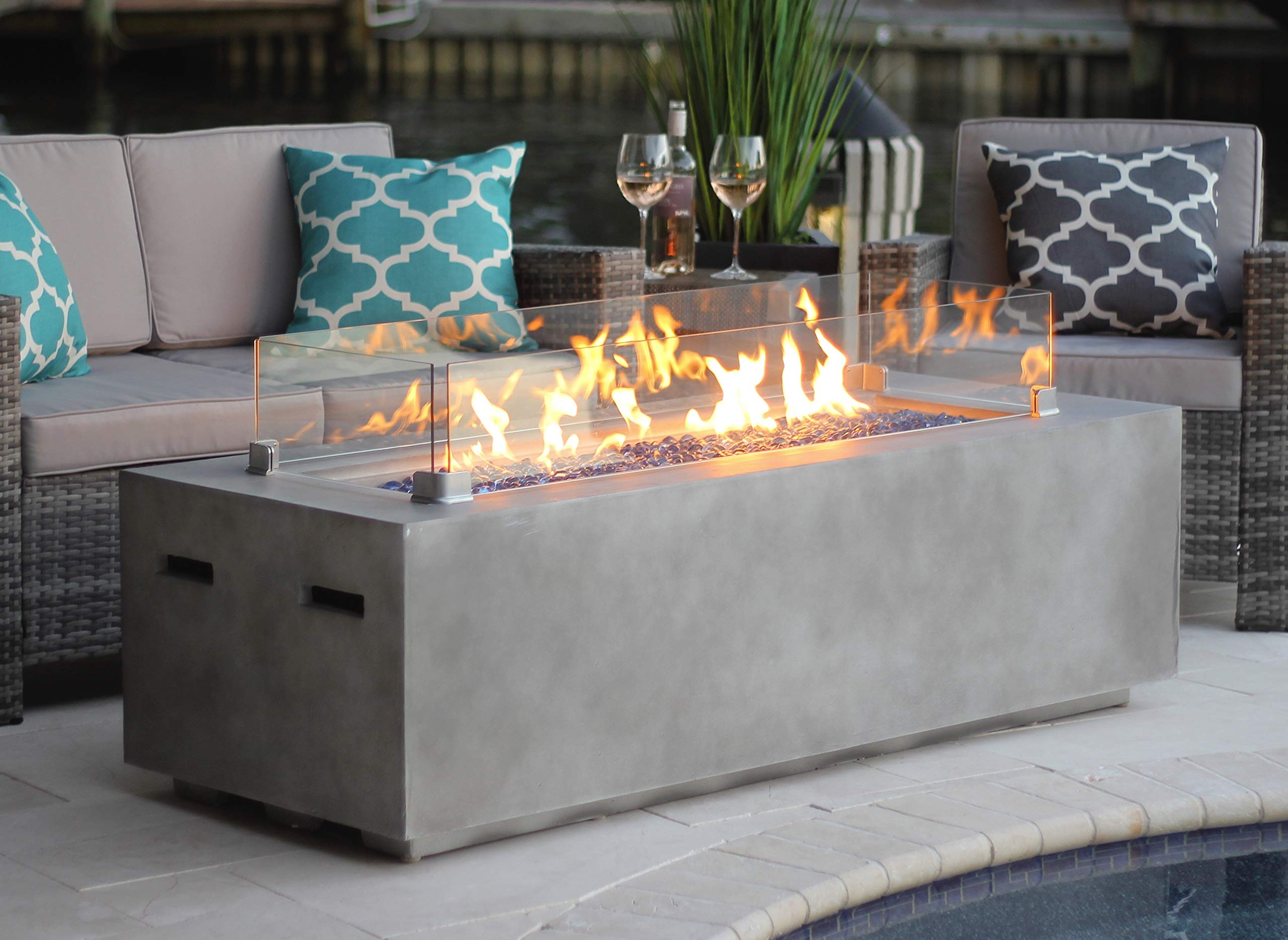 AKOYA Outdoor Essentials 60'' Rectangular Modern Concrete Fire Pit Table w/Glass Guard and Crystals in Gray (Cobalt Blue) by AKOYA Outdoor Essentials