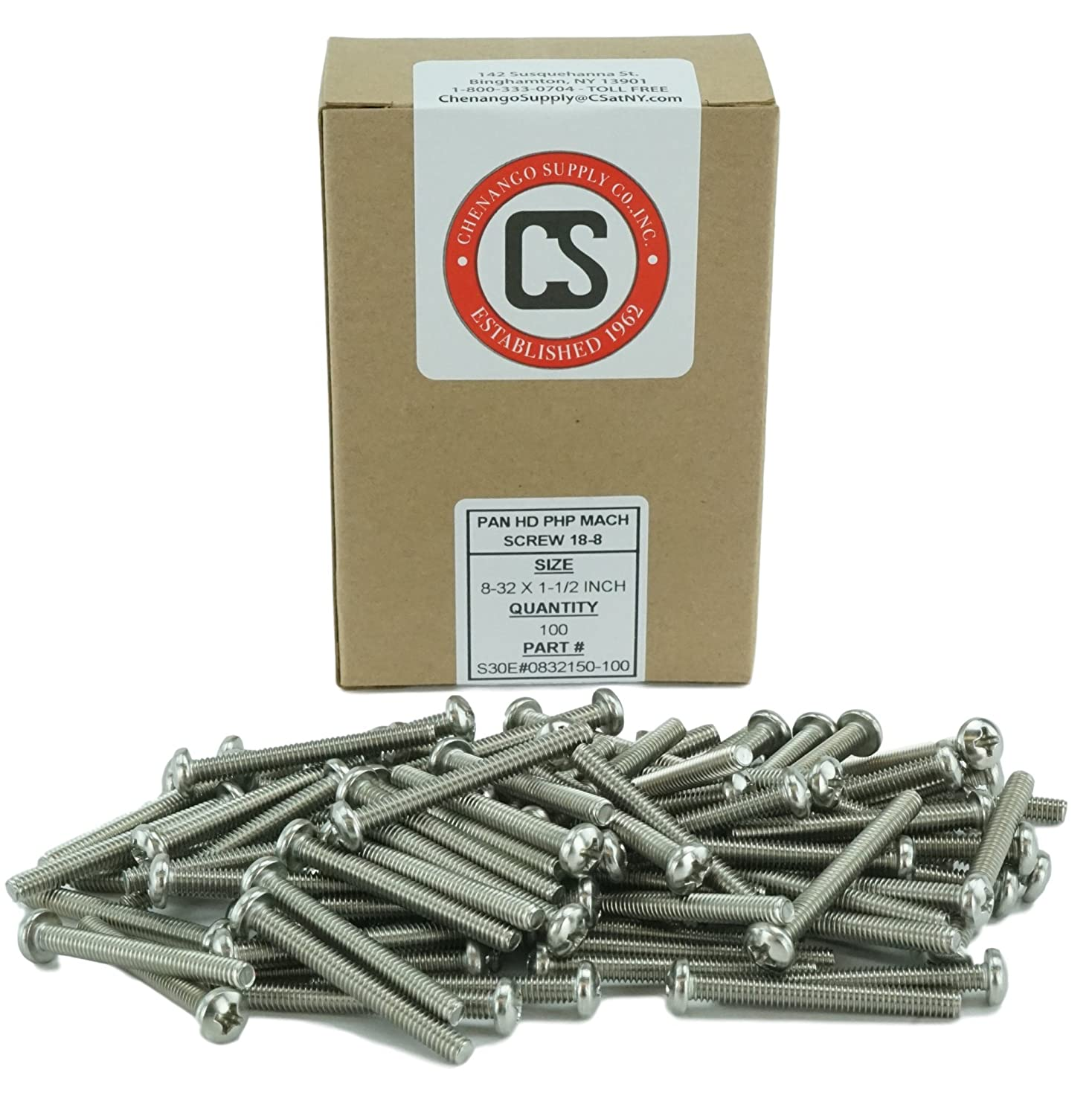 Stainless Steel 18-8 Stainless 8-32 x 1 100 pcs, 8-32 x 1 3//8 to 3 Lengths Available Machine Thread Phillips Drive Pan Head Machine Screws Full Thread