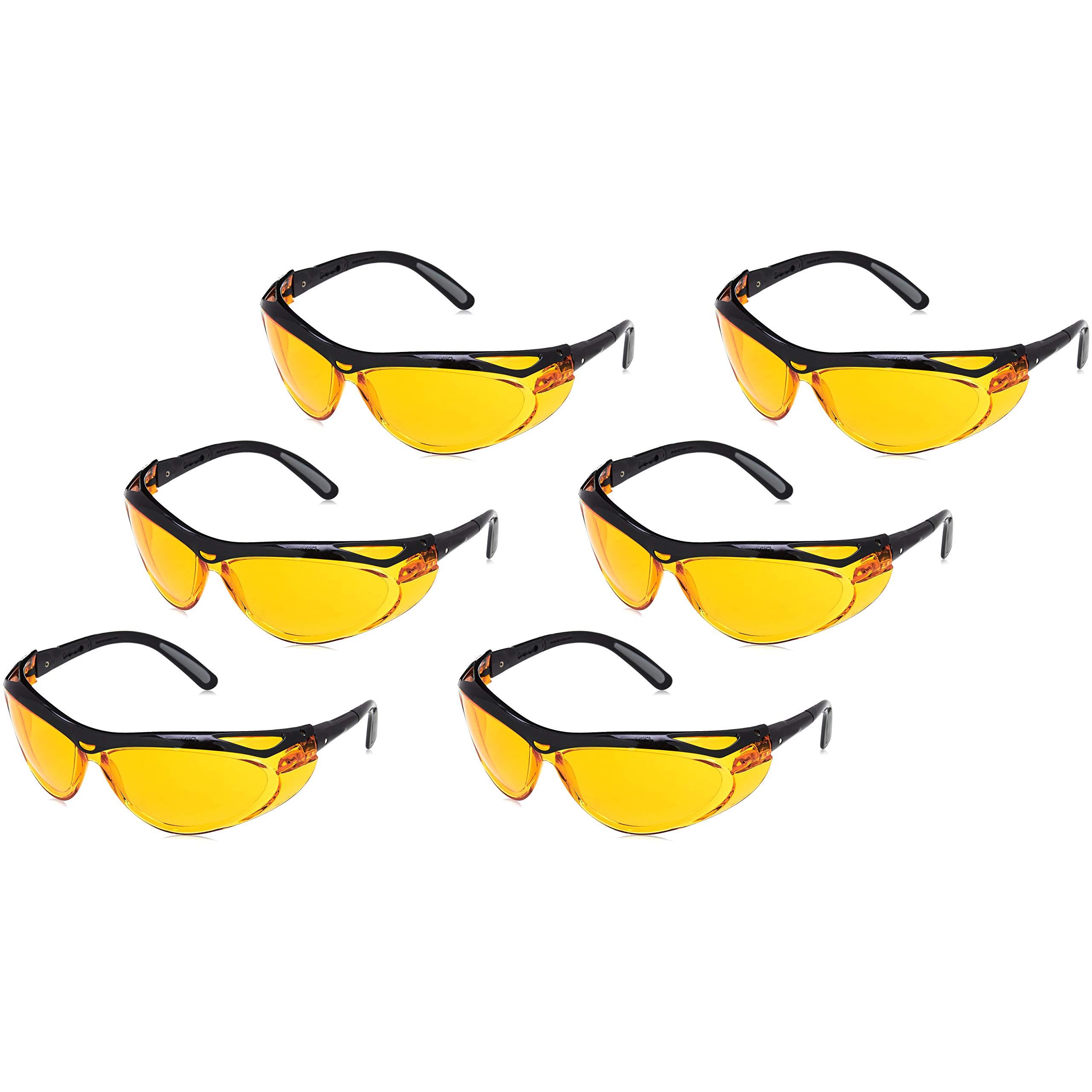 AmazonBasics Blue Light Blocking Safety Glasses Eye Protection, Anti-Fog, Orange Lens, 6-Count by AmazonBasics