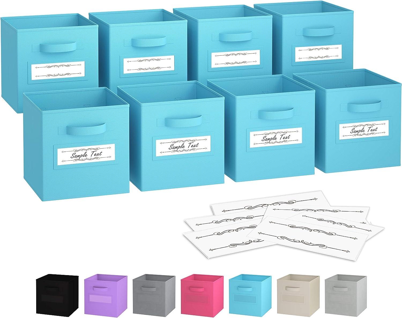 Royexe - Storage Cubes - (Set of 8) Storage Baskets   Features Dual Handles & 10 Label Window Cards   Cube Storage Bins   Foldable Fabric Closet Shelf Organizer   Drawer Organizers and Storage (Blue)