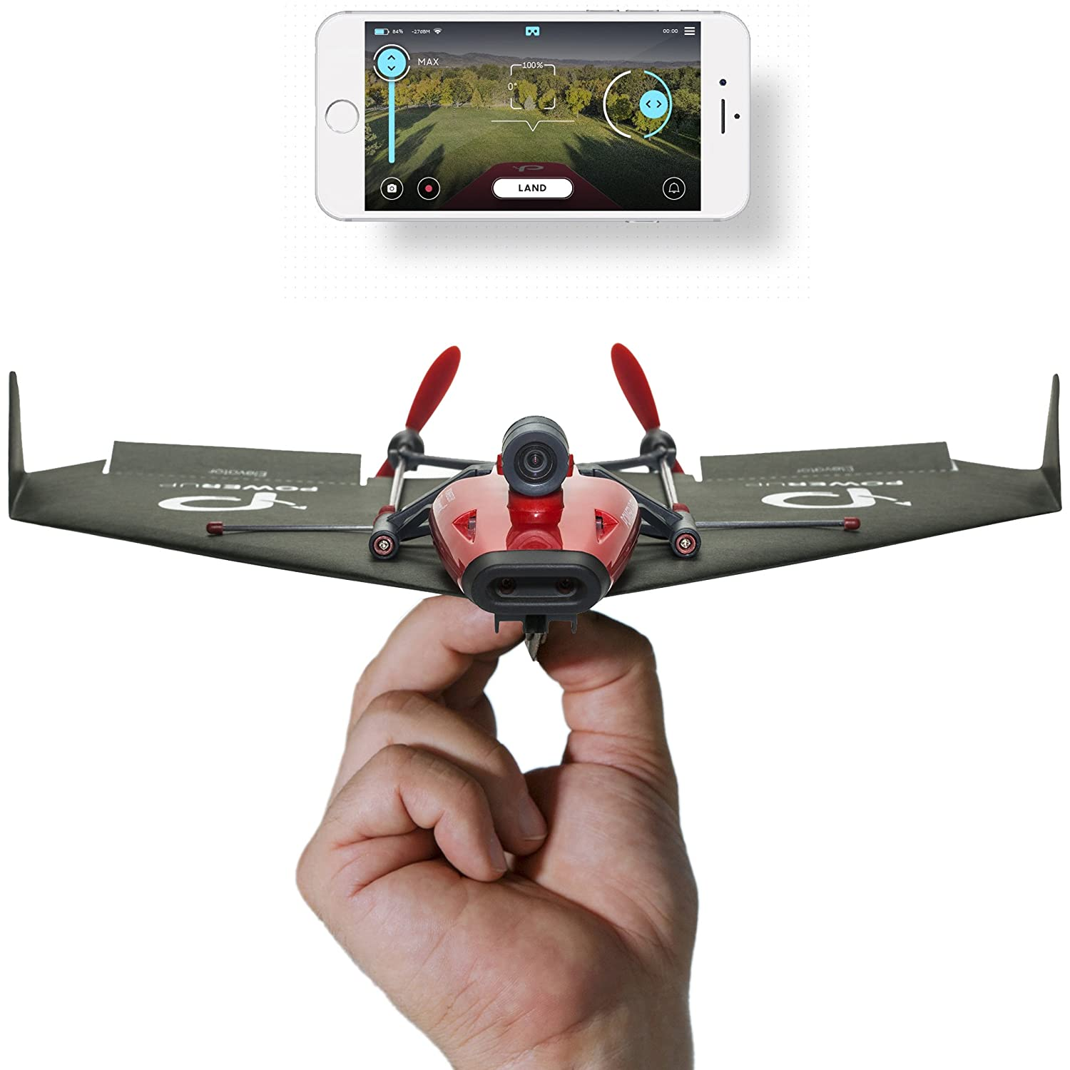 POWERUP FPV Twin Engine Smartphone Controlled Paper Airplane with Wide Angle Camera 500-020