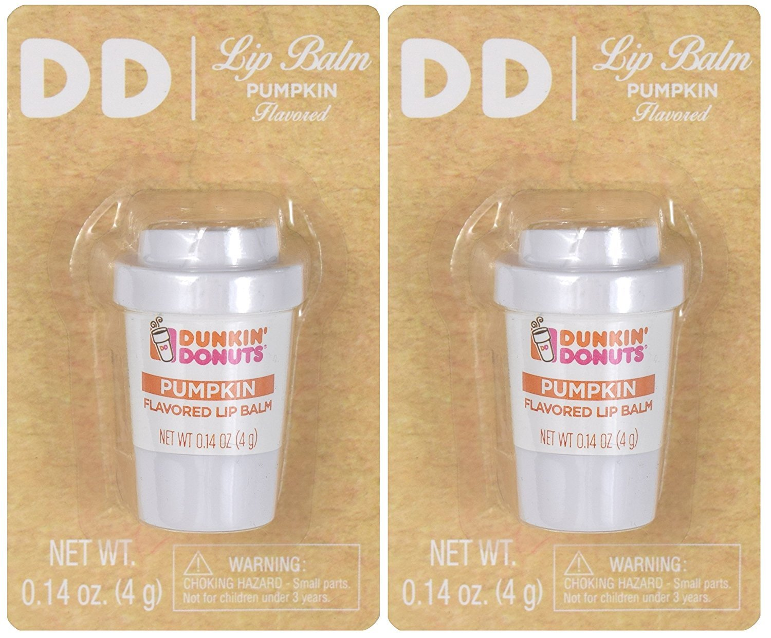Dunkin Donuts Lip Balm Limited Seasonal Pumpkin Flavor Two Pack (.14 oz. each)