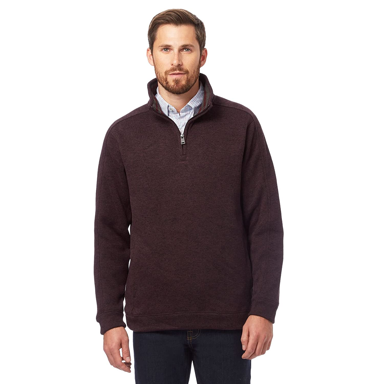 Maine New England Mens Dark Red Funnel Neck Sweater