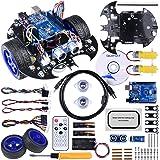 Quimat Arduino ロボットカーキット 日本語マニュアル UNO R3ボード 超音波センサ リモコン スマートロボットカー 新年プレゼント LQS10 (LQS10)