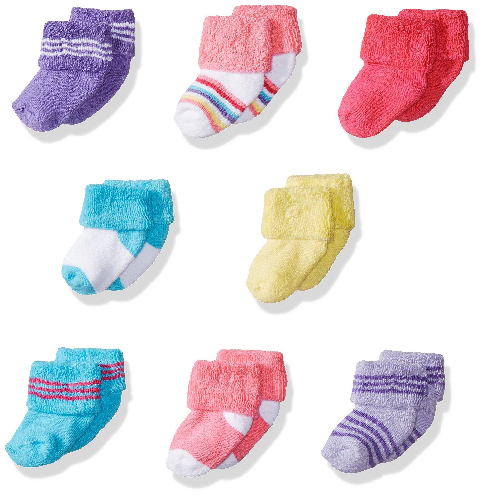 Luvable Friends Unisex 8 Pack Newborn Socks, Pink