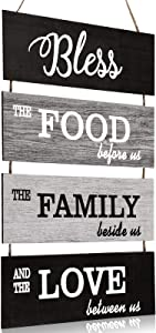 Jetec Bless Hanging Wall Sign, Large Hanging Wall Sign, Rustic Wooden Family Food Love Sign Decor, Hanging Wood Wall Decoration for Living Room Bedroom Outdoor