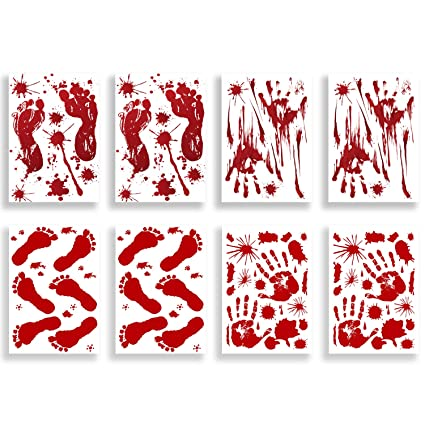 Halloween Window Stickers Bloody Prints Self Cling Party Decoration 4 Designs