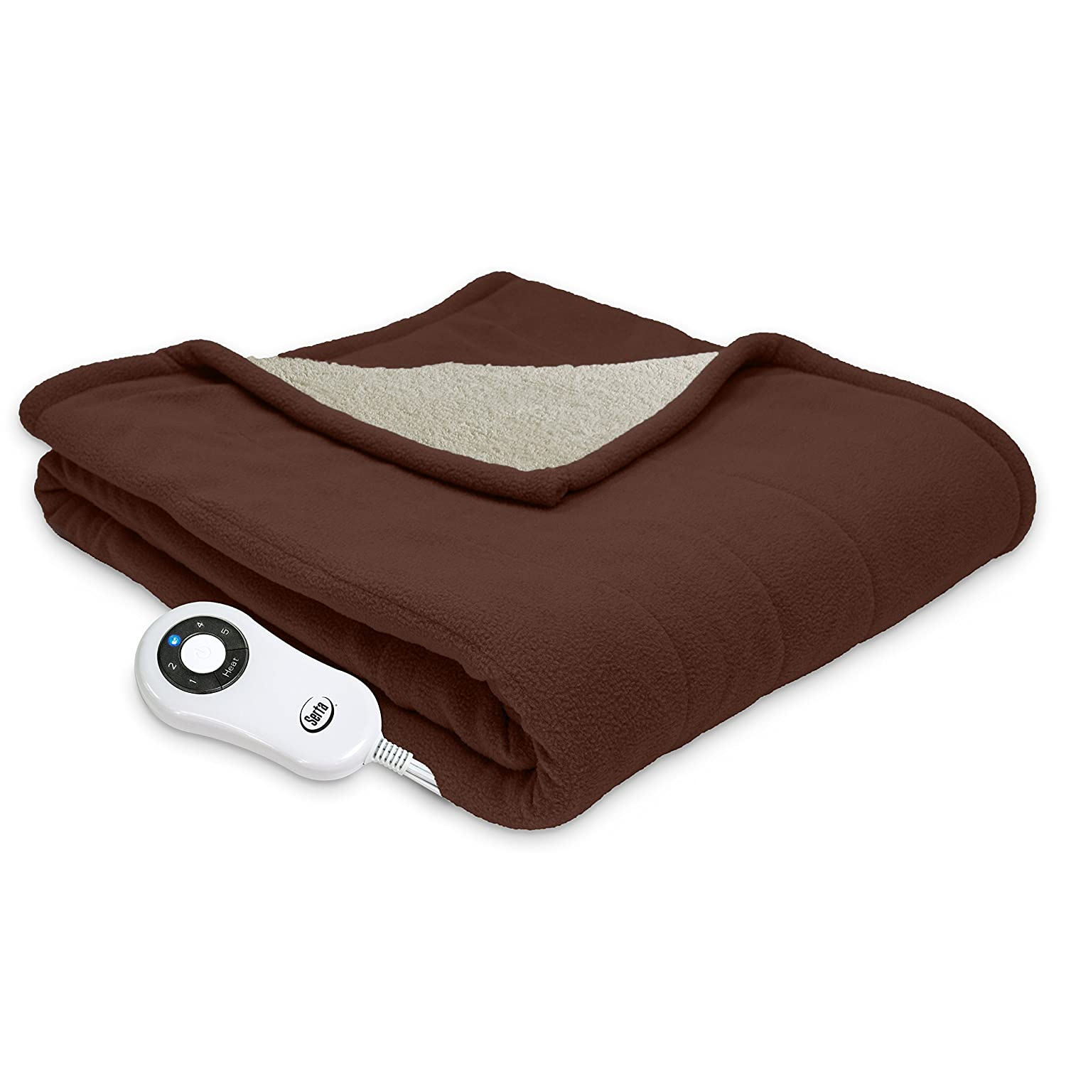 Serta | Reversible Sherpa/Fleece Heated Electric Throw Blanket, Premium, (Chocolate)