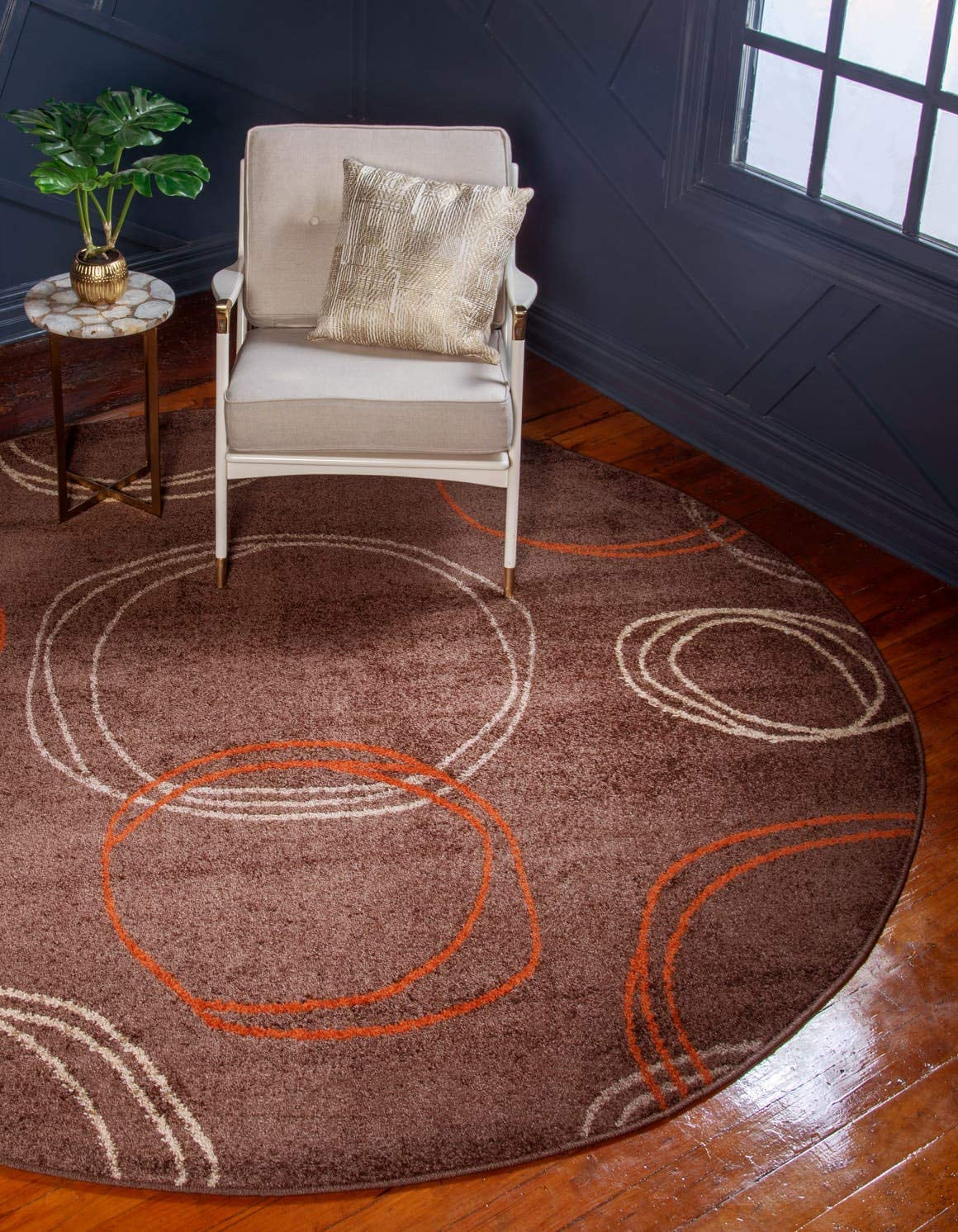 Unique Loom Autumn Collection Modern Circles Warm Toned Brown Round Rug 3 3 x 3 3