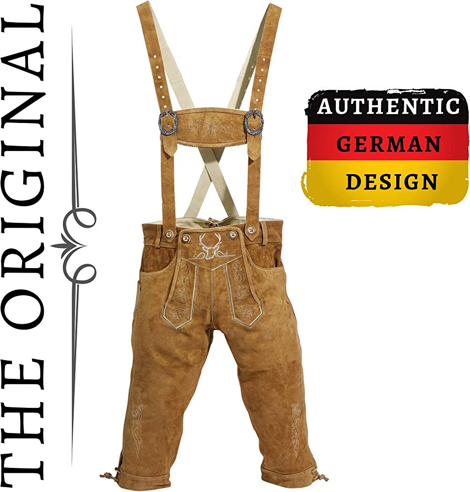 Mens Oktoberfest Trachten Lederhosen Bundhosen Costume Brown 4 Pc Complete Set