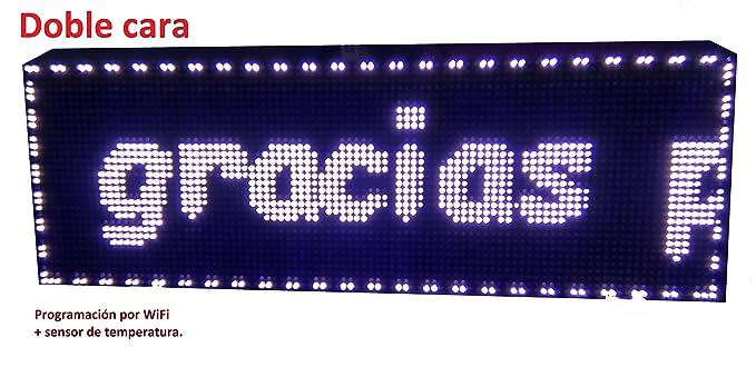 Cartel LED programable por WiFi y sonda de Temperatura (96x32 cm, RGB) Reloj / Pantalla electrónica de Alta luminosidad / Válidos para Exterior / ...