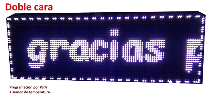 Cartel LED programable por WiFi y sonda de Temperatura (64x16 cm Doble Cara, Blanco) Reloj / Pantalla electrónica de Alta luminosidad / Válidos para ...