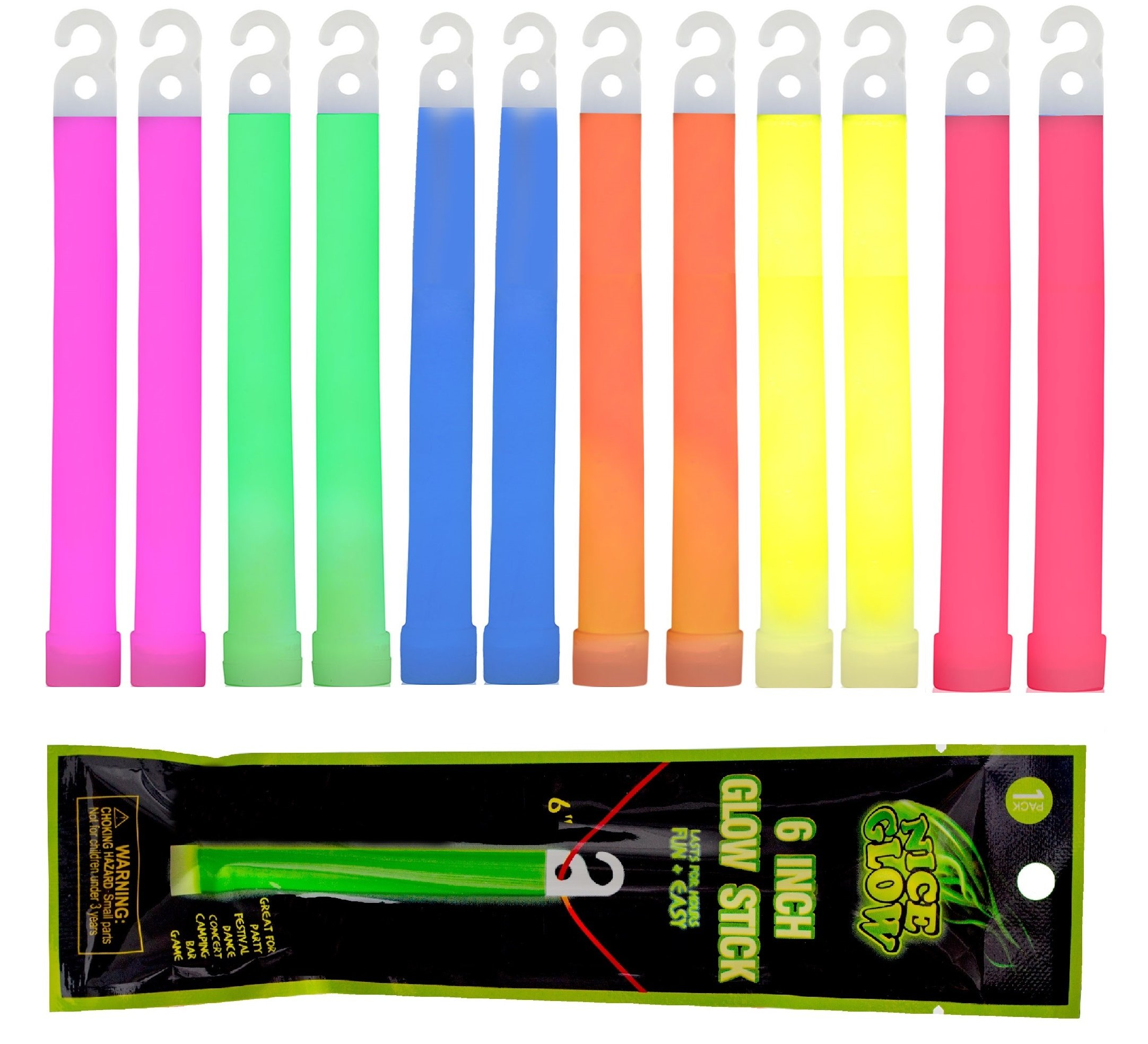 Wealers 12 Pack Light Sticks - 6'' Inch, Ultra Bright Glow In The Dark Stick with Up To 24 Hour Duration, For Emergency's, Camping, Party's, (Assorted Colors) by Wealers