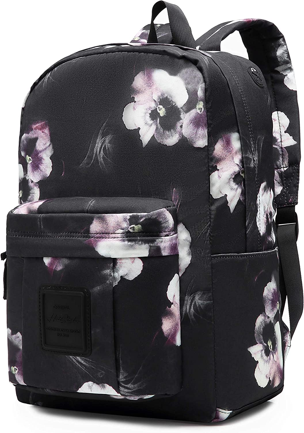 599s Floral School Backpack For Teen Girls, Water resistance & Durable Bookbag Cute for College, Misty Black