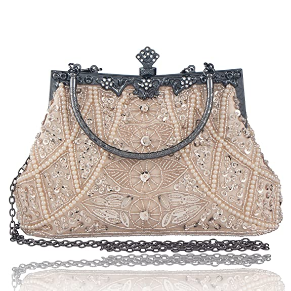 Vintage & Retro Handbags, Purses, Wallets, Bags Bagood Womens Vintage Style Beaded And Sequined Evening Bag Wedding Party Handbag Clutch Purse $26.99 AT vintagedancer.com