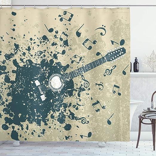 ABAKUHAUS Moderno Cortina de Baño, Guitarra Acústica Fondo Retro ...