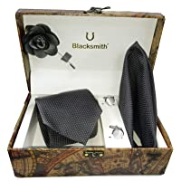 Blacksmith Men's Combo of Necktie, Pocket Square Lapel Pin and Cufflinks(Black, Free Size) - Gift Set for Men