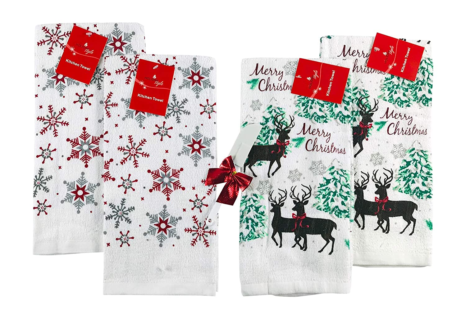 Two Sets of Snowman Friends 4 Pc Holiday Seasonal Kitchen Towels Snowman Party