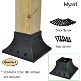 Myard 4x4 (actual 3.5x3.5 ) Inches Post Base Cover Skirt Flange w/ Screws for Deck Porch Handrail Railing Support Trim (Qty 2, Black)