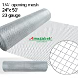 1/4in Hardware Cloth 24x50 Square Chicken Cage Wire Hot Galvanized Gopher Welded Mesh Roll 23gauge Snake Fencing Material Rabbit Raccoon Moles Rodents Animal Control for Vegetable Garden Raised Beds