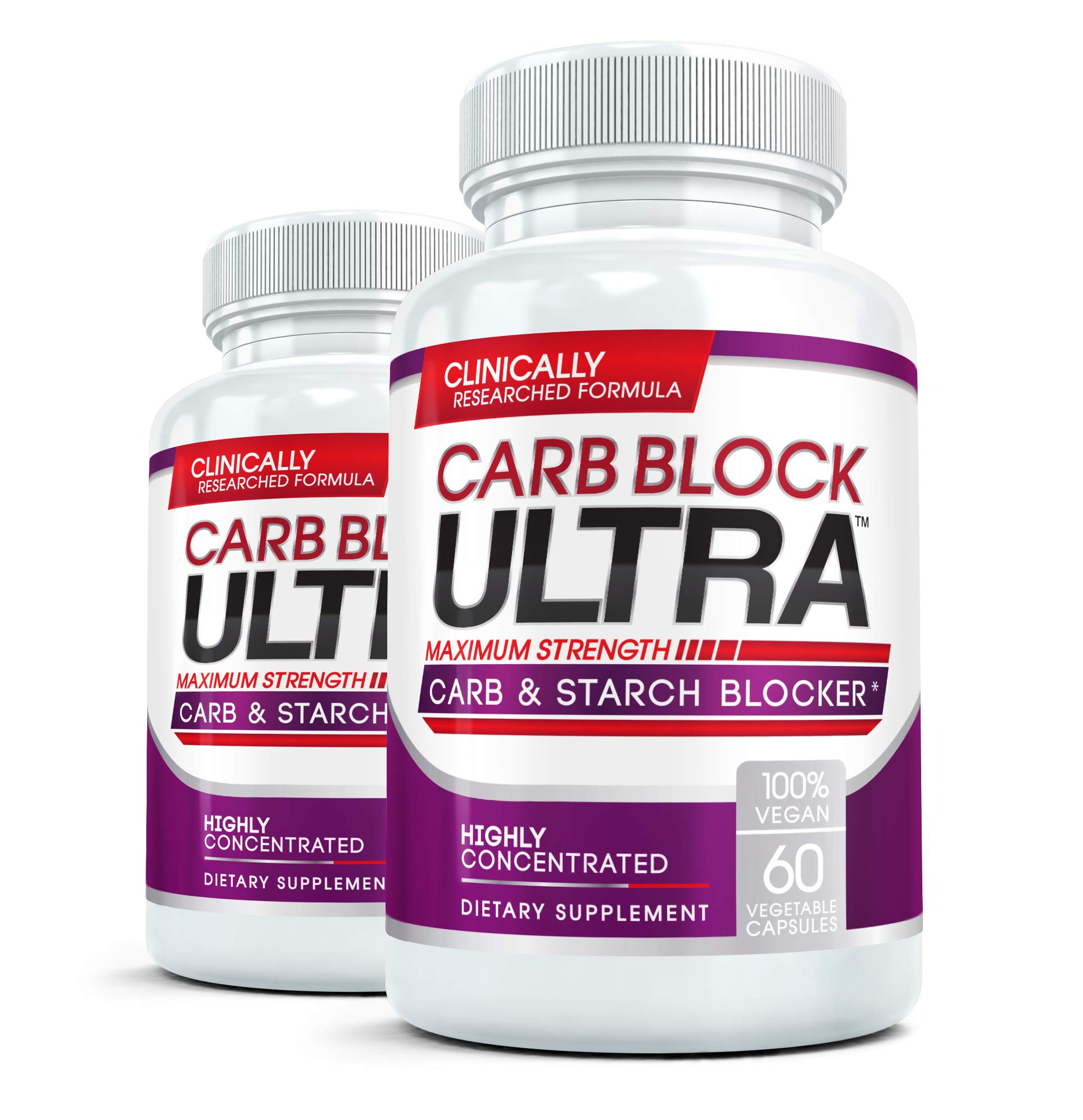 CARB BLOCK ULTRA (2 Bottles) Clinical Strength Carbohydrate & Starch Blocker Supplement with White Kidney Bean Extract - Lose Weight Without Dieting! 60 capsules per bottle by Carb Block Ultra