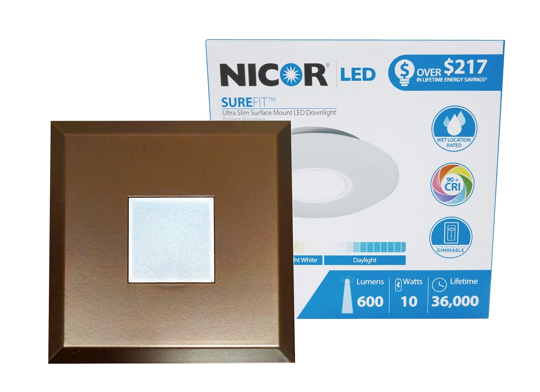 NICOR Lighting SureFit 5.25-inch Square Ultra Slim 2700K LED Junction Box Retrofit Downlight Kit, Oil-Rubbed Bronze (DLF-10-120-2K-SQ-OB) by NICOR Lighting