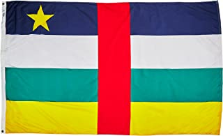 product image for Annin Flagmakers Model 191415 Central Africa Republic Flag Nylon SolarGuard NYL-Glo, 5x8 ft, 100% Made in USA to Official United Nations Design Specifications
