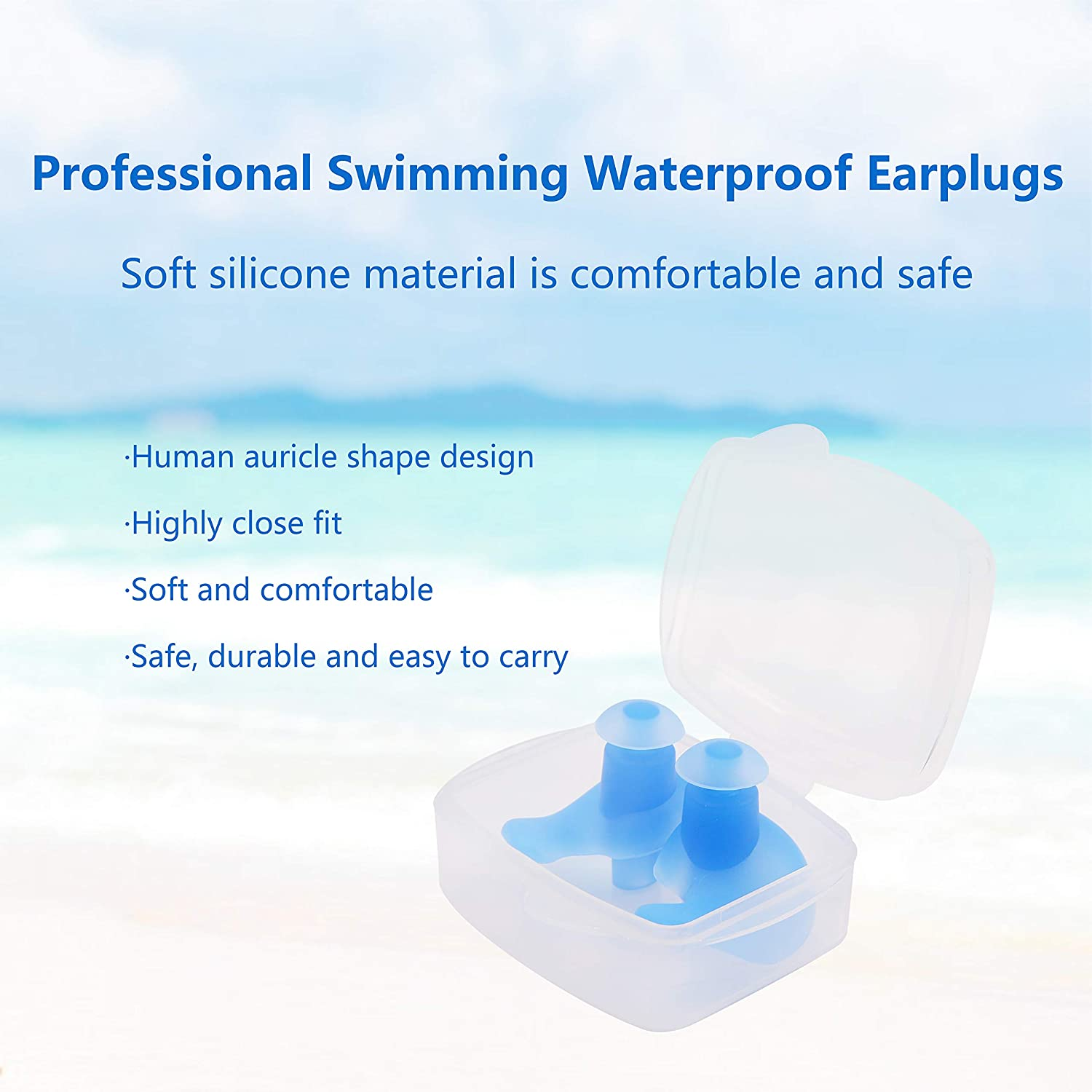Trcviove UTT Spiral Swimming Earplugs Professional Silicone Earplugs for Swimming Showering Surfing and Other Water Sports Adult Size 4-Pair Pack