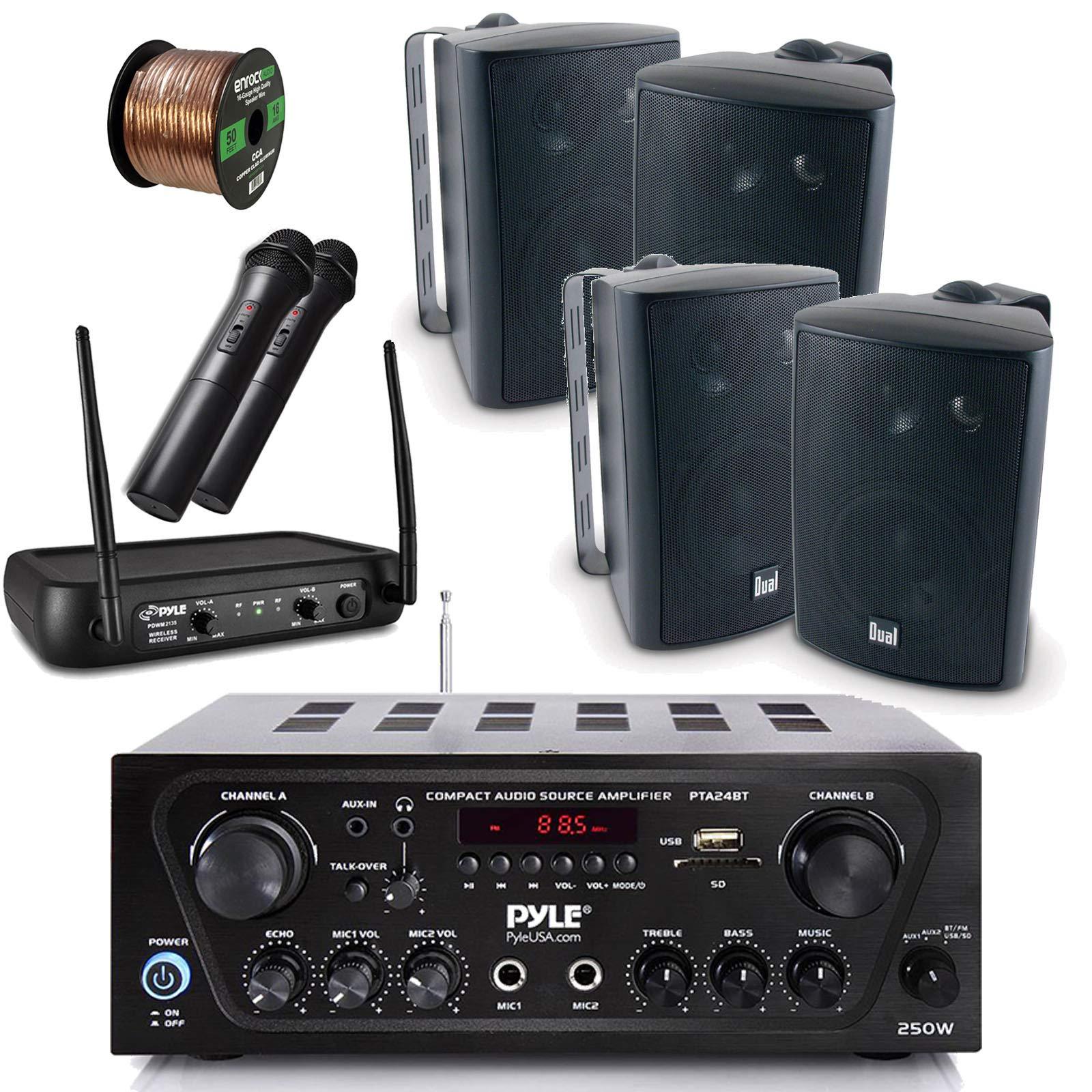 Pyle Wireless Bluetooth Stereo Receiver Amplifier, Dual Channel VHF Wireless Microphone System, 4x Dual Electronics 4'' 100-Watt Indoor/Outdoor Speakers - Black, 50Ft Speaker Wire - PA , Karaoke , DJ
