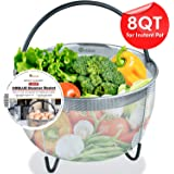 ORBLUE Steamer Basket for Instant Pot 8 Quart Accessories [6qt 8qt Avail] fits InstaPot, Ninja Foodi, Other Pressure Cookers, Strainer Insert for Insta Pot Ultra, Silicone Handle, for Instant Pot 8 Qt