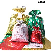 Bags, 40Pcs Santa Wrapping Gift Bag in 4 Sizes and 4 Designs, with Ribbon Ties