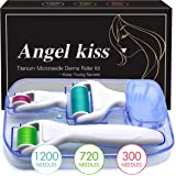 4 in 1 Derma Roller Microneedling Kit for Face and Body - Angel Kiss GOLDEN Titanium Micro Needle Microdermabrasion Roller- 3 Replaceable Heads (300 with 720 Needles 0.25mm,1200 Needles 0.3mm)
