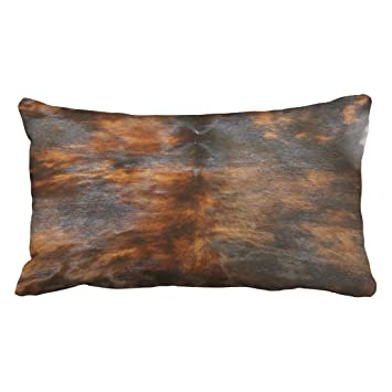 Shorping Zippered Pillow Covers Pillowcases 20x36 Inch Cowhide Simulated Leather Look Brown Black Decorative Throw