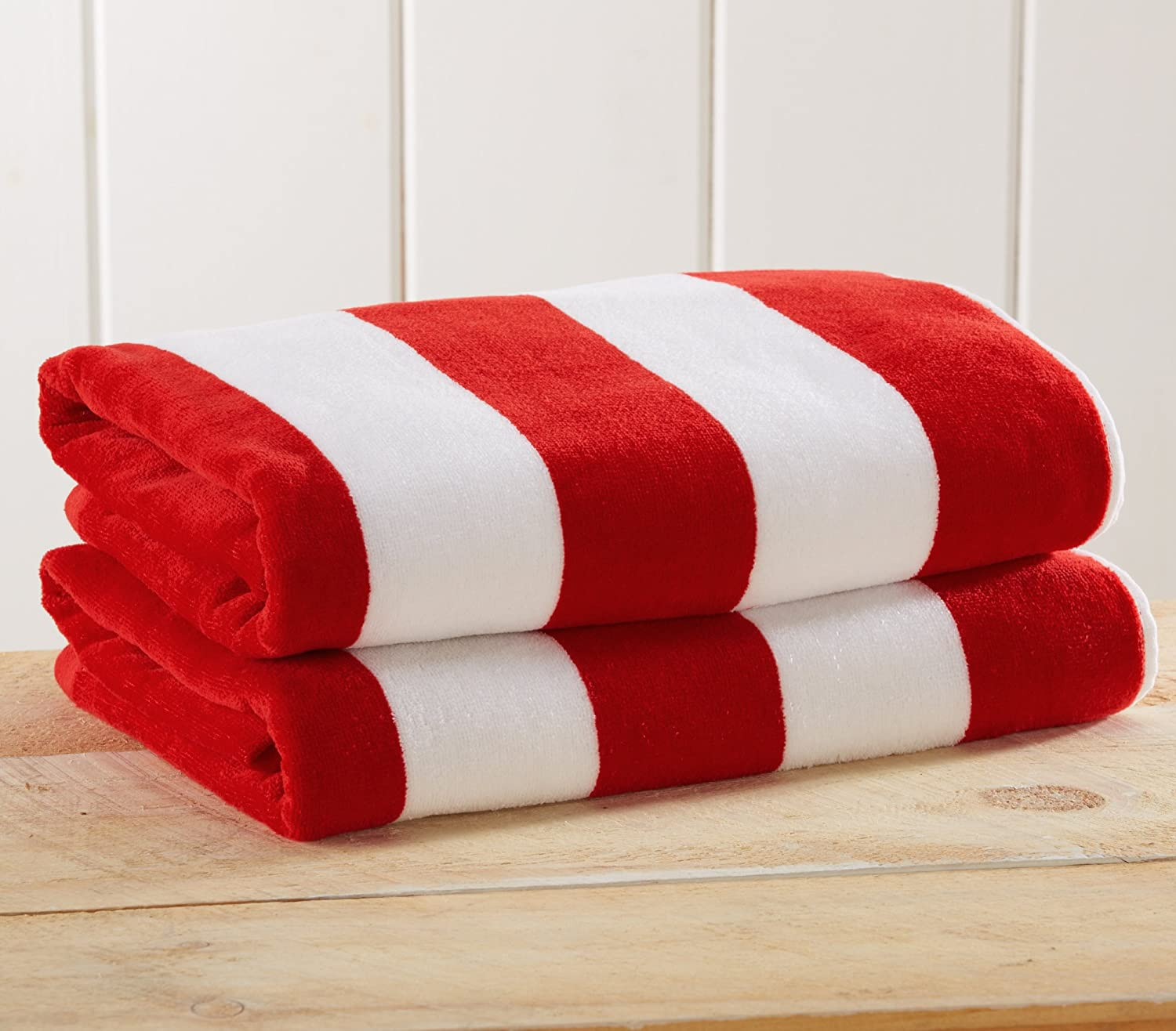 """2 Pack Plush Velour 100% Cotton Beach Towels. Cabana Stripe Pool Towels for Adults. (Red, 2 Pack- 30"""" x 60"""")"""