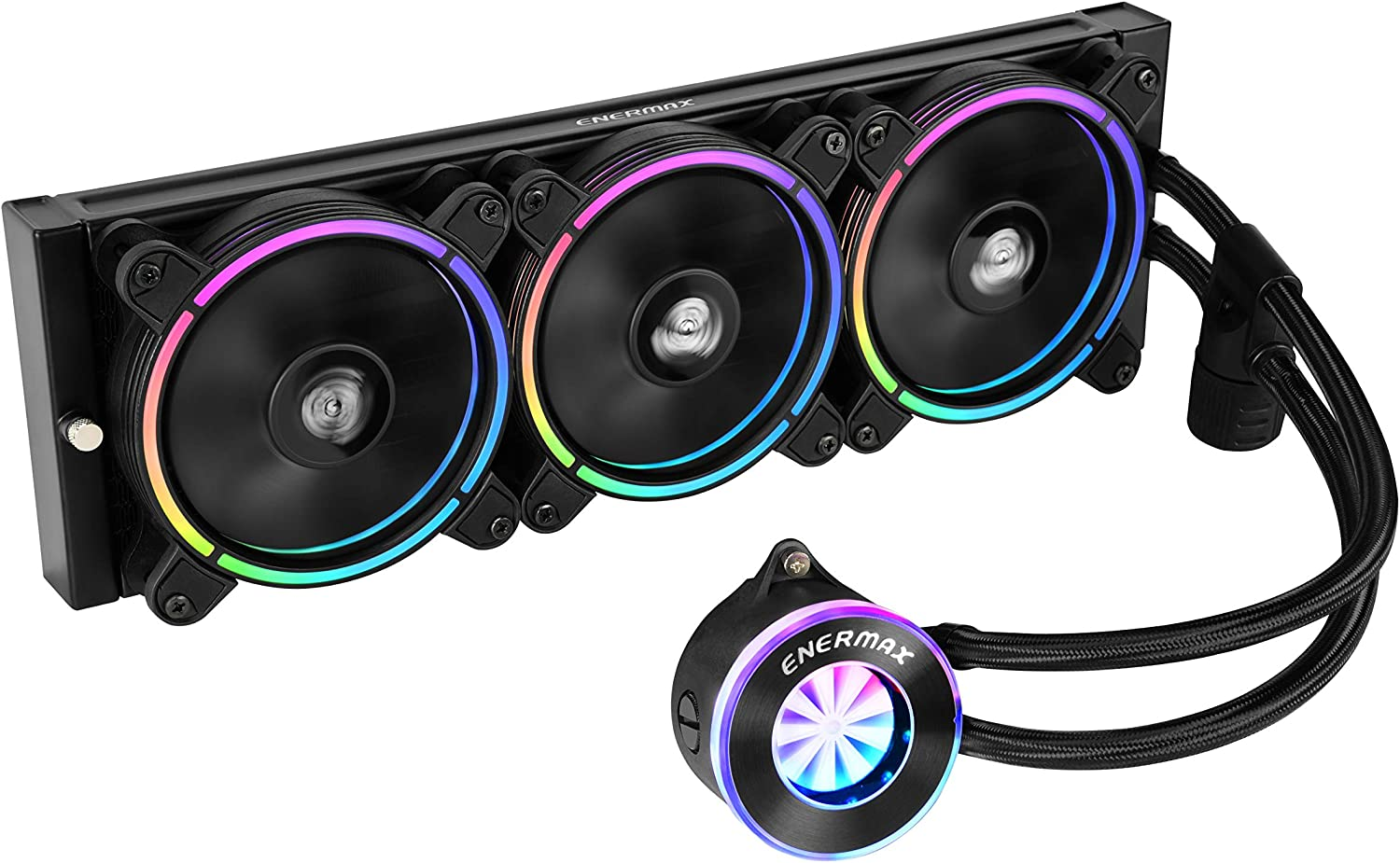 Enermax Liqfusion RGB 360mm Lighting Liquid CPU Cooler T.B. RGB Addressable M/B Sync RGB Fan, Exclusive RGB-Sync Waterblock with Patented Flow Indicator Design, ELC-LF360-RGB